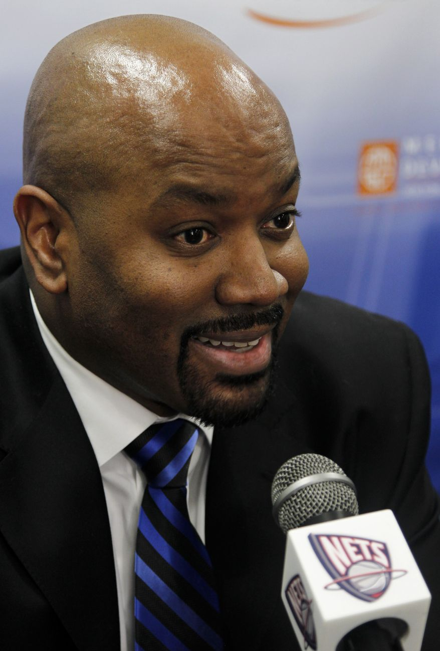 New Jersey Nets general manager Billy King talks to the media before an NBA basketball game against the Utah Jazz, Wednesday, Jan. 19, 2011, in Newark, N.J. (AP Photo/Julio Cortez)