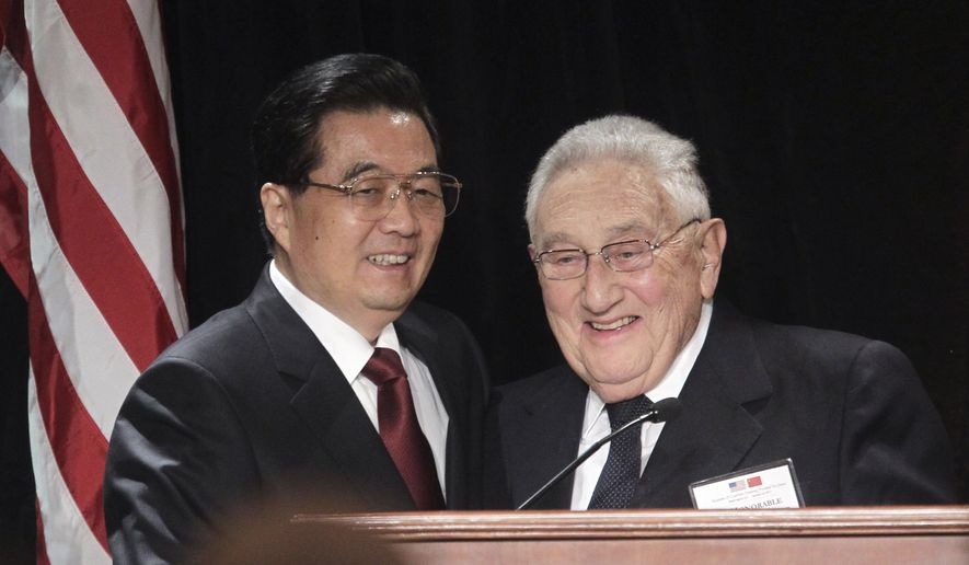 Former Secretary of State Henry A. Kissinger introduces China's President Hu Jintao to leaders from the private and public sectors, Thursday, Jan. 20, 2011 in Washington, at a luncheon co-hosted by the U.S.-China Business Council. (AP Photo/Pablo Martinez Monsivais)