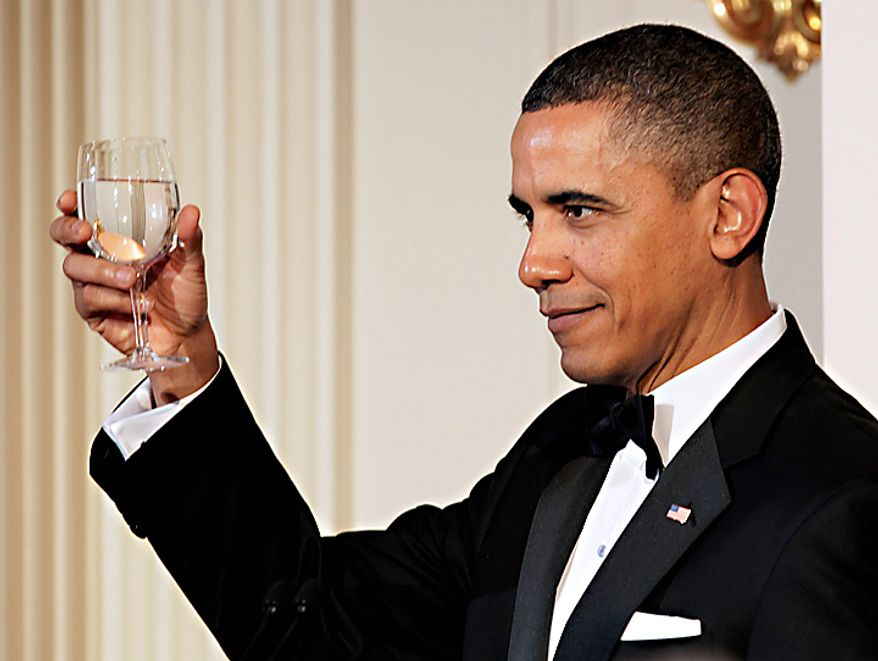 ** File ** President Obama offers a toast at a State dinner on Jan. 19, 2011, at the White House. (AP Photo/Carolyn Kaster)