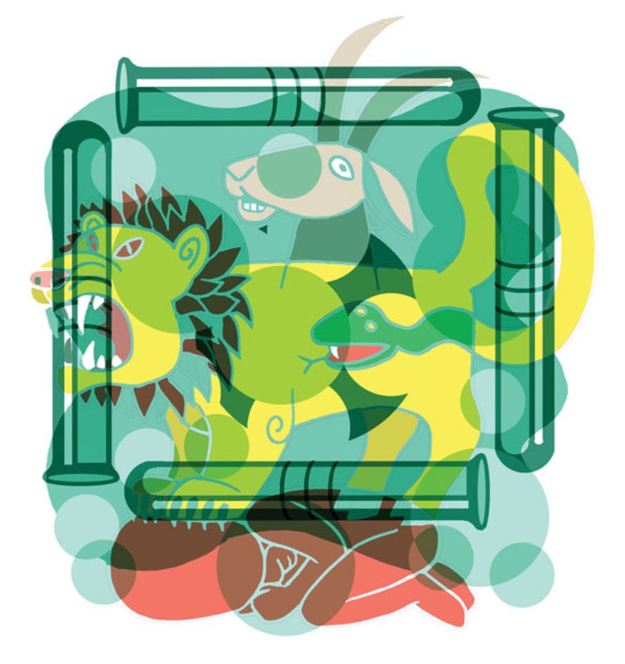 Illustration: Test tube madness by Alexander Hunter for The Washington Times