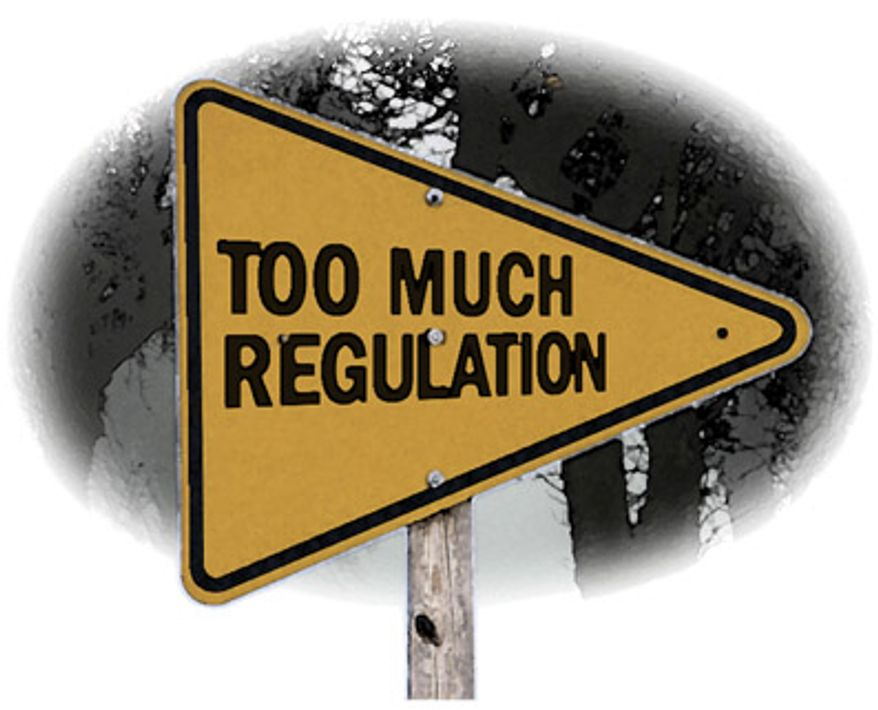 Illustration: Too much regulation by Greg Groesch for The Washington Times