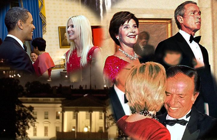 From left; President Barack Obama meets Michaele Salahi, President Bush and first lady Laura Bush,  first lady Hillary Rodham Clinton dances with Argentine President Carlos Menem and (background) Mexico President Vicente Fox saw fireworks at his White House visit. (Photos: Associated Press and The  Washington Times)