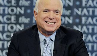 "On CBS' ""Face the Nation"" Sunday, Sen. John McCain said, ""We need to have a vote on"" repeal of the health care law. (Associated Press)"