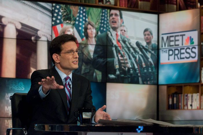 "Rep. Eric Cantor of Virginia says on ""Meet the Press"" that he wants to hear what President Obama will say in Tuesday's address to Congress. ""The question will be ... whether he will demonstrate that he no longer wants to adhere to more spending,"" said the new House majority leader. (NBC via Associated Press)"