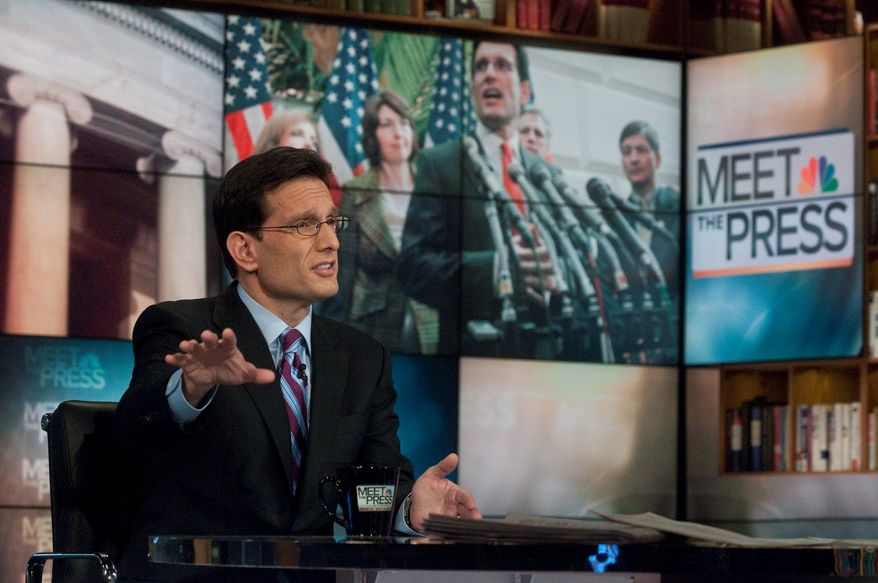"""Rep. Eric Cantor of Virginia says on """"Meet the Press"""" that he wants to hear what President Obama will say in Tuesday's address to Congress. """"The question will be ... whether he will demonstrate that he no longer wants to adhere to more spending,"""" said the new House majority leader. (NBC via Associated Press)"""