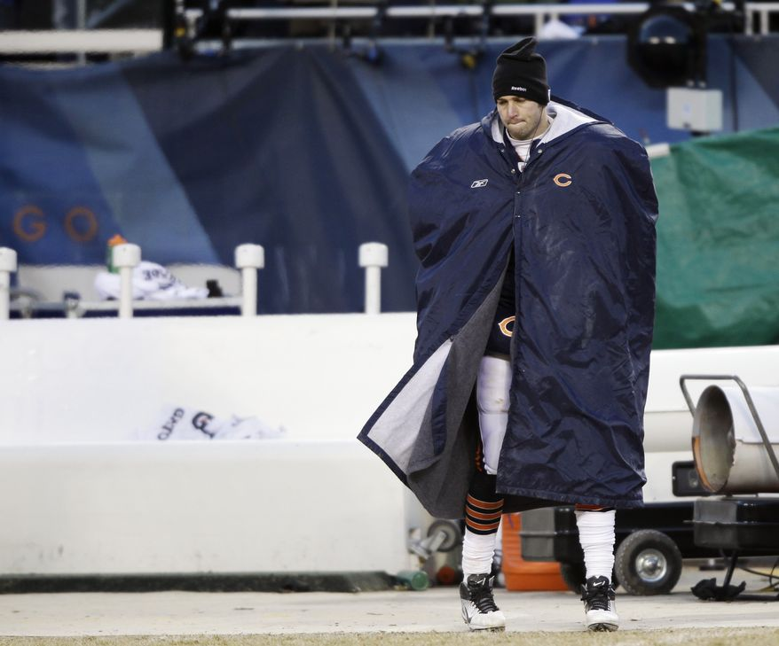 Chicago Bears quarterback Jay Cutler (6) walks on the sideline during the second half of the NFC Championship NFL football game against the Green Bay Packers Sunday, Jan. 23, 2011, in Chicago. (AP Photo/David J. Phillip)