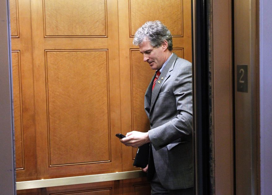 """Freshman Sen. Scott Brown, Massachusetts Republican, is the author of the forthcoming autobiography """"Against All Odds,"""" published by Harper Collins. (Associated Press)"""