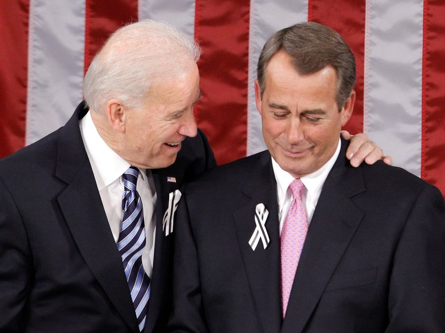 Vice President Joseph R. Biden Jr. chats with House Speaker John A. Boehner of Ohio on Capitol Hill on Tuesday before the start of President Obama's State of the Union address. (Associated Press)