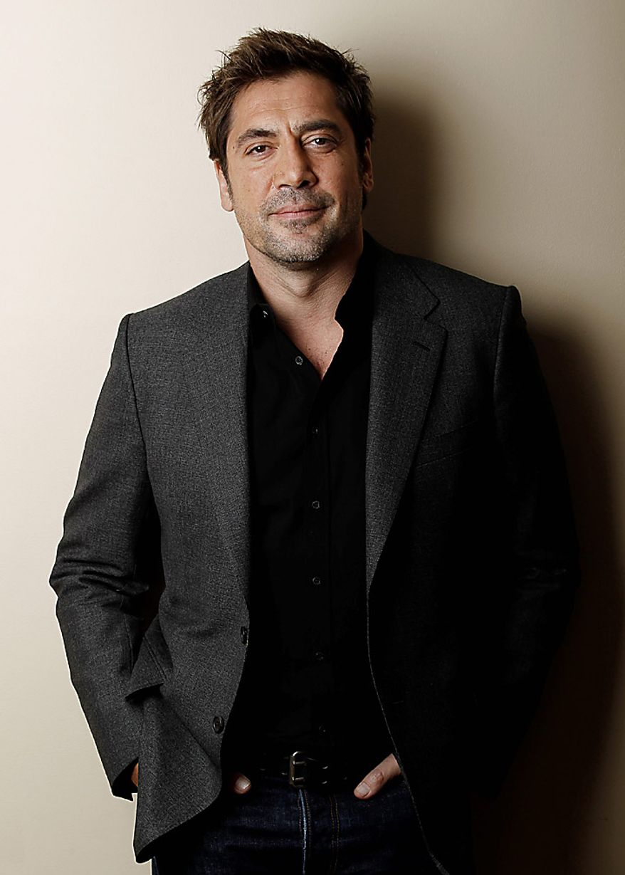 "In this Dec. 16, 2010, file photo, actor Javier Bardem poses for a portrait in Beverly Hills, Calif.  Mr. Bardem was nominated for an Academy Award for best actor for his role in ""Biutiful,""  Tuesday, Jan. 25, 2011. The Oscars will be presented Feb. 27 at the Kodak Theatre in Hollywood. (AP Photo/Matt Sayles, file)"