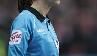 In this photo taken Saturday, Jan. 22, 2011, assistant referee Sian Massey is seen during an English Premier League soccer match between Liverpool and Wolverhampton Wanderers at Molineux, Wolverhampton, England, Saturday, Jan. 22, 2011. Two of Britain's leading soccer commentators were reprimanded by their TV network and taken off the air Monday Jan. 24, 2011 after making sexist remarks about two female game officials and a team executive. Andy Gray and Richard Keys were disciplined Monday for derogatory comments about Massey's suitability as a lineswoman for a Premier League game the commentators were working Saturday for Sky Sports channel. Gray and Keys have been respected voices in soccer for the past 20 years. (AP Photo/Lefteris Pitarakis) NO INTERNET/MOBILE USAGE WITHOUT FOOTBALL ASSOCIATION PREMIER LEAGUE (FAPL) LICENCE. CALL +44 (0) 20 7864 9121 or EMAIL info@football-datco.com FOR DETAILS