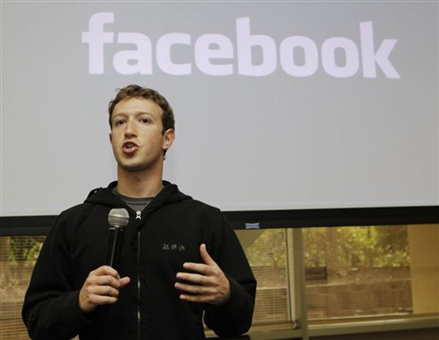 FILE - In this May, 26, 2010 file photo, Facebook CEO Mark Zuckerberg talks about the social network site's new privacy settings in Palo Alto, Calif.(AP Photo/Marcio Jose Sanchez, file)