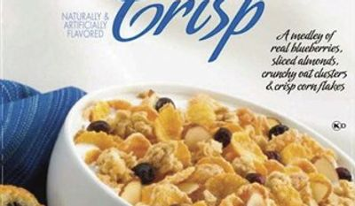 "This product image provided by the Grocery Manufacturers Association shows new ""Nutrition Keys"" labels, lower left, as they would appear on a box of cereal. The Grocery Manufacturers Association and the Food Marketing Institute on Monday, Jan. 24, 2011 announced the industry's voluntary new labels, which will list calories, saturated fat, sodium and sugars per serving. (AP Photo/Grocery Manufacturers Association) NO SALES"