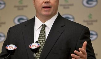 Green Bay Packers coach Mike McCarthy answers questions from the media during a news conference Monday, Jan. 24, 2011, in Green Bay, Wis. The Packers and the  Pittsburgh Steelers are scheduled to play in the Super Bowl on Feb. 6 in Arlington, Texas. (AP Photo/Mike Roemer)