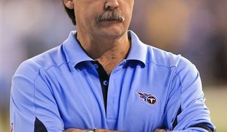 Former Tennessee Titans head coach Jeff Fisher answers questions from the media during an NFL football news conference at the team's headquarters on Friday, Jan. 28, 2011, in Nashville, Tenn. The Titans announced on Thursday that Fisher will not remain as head coach. (AP Photo/Mark Humphrey)
