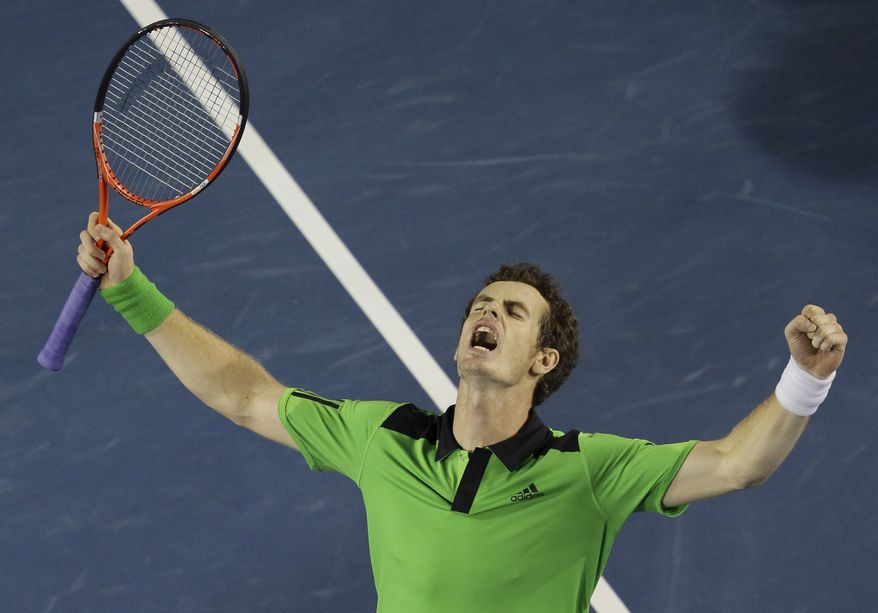 Britain's Andy Murray celebrates his win over Spain's David Ferrer in their men's semifinal at the Australian Open tennis championships in Melbourne, Australia, on Friday, Jan. 28, 2011. (AP Photo/John Donegan)