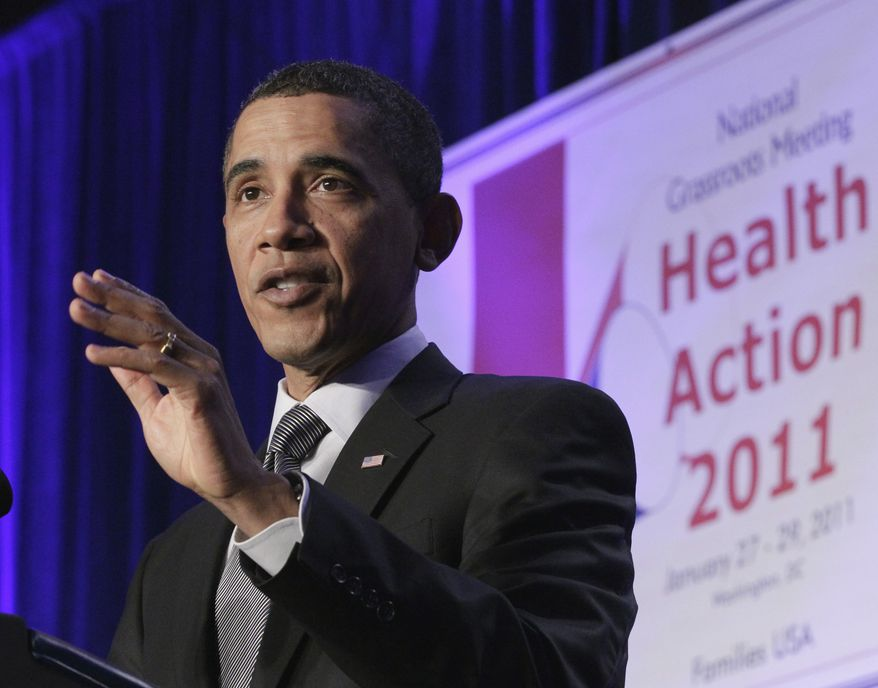 **FILE** President Obama addresses the Families USA 16th Annual Health Action Conference in Washington on Jan. 28, 2011. Families USA is an consumer advocacy health care organization. (Associated Press)