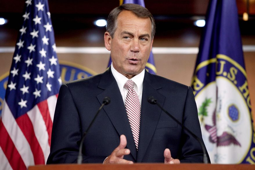 "House Speaker John A. Boehner, Ohio Republican, said Sunday he fears Senate Democrats won't acknowledge ""real problems"" with entitlements, such as Medicare and Social Security. (Associated Press)"