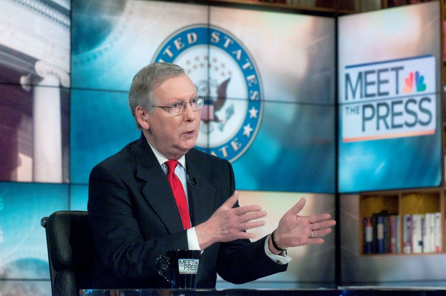 "On NBC's ""Meet the Press,"" Senate Minority Leader Mitch McConnell, Kentucky Republican, on Sunday said, ""I think the president needs to be more bold"" in addressing the massive federal deficit, including entitlements, in a collaborative effort. (NBC via Associated Press)"