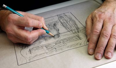 Mike Berenstain works on art for a Berenstain Bears book. He took over creative duties when his father died, continuing a tradition that started with the first book in 1962. (Associated Press)