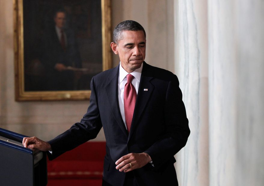 President Obama leaves the lectern at the White House on Tuesday after speaking about the crisis in Egypt. He praised President Hosni Mubarak's decision not to seek re-election in September. (Associated Press)