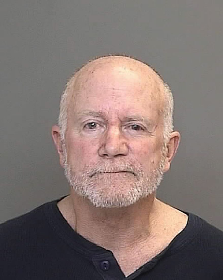 Roger Stockham is being held in Dearborn, Mich., on charges of making a false report or threat of terrorism and possessing explosives with an unlawful intent. (AP Photo/Dearborn, Mich., Police, HO)