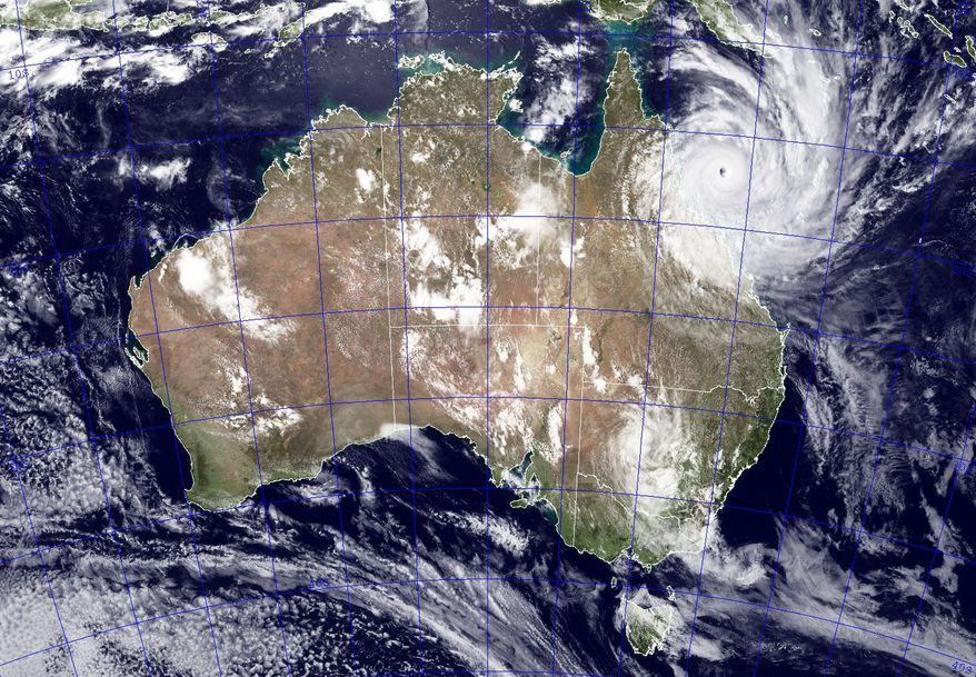 This image provided by NASA shows Tropical Cyclone Yasi as it approaches Queensland, Australia, Wednesday Feb. 2, 2011. (AP Photo/NASA - Jeff Schmaltz)