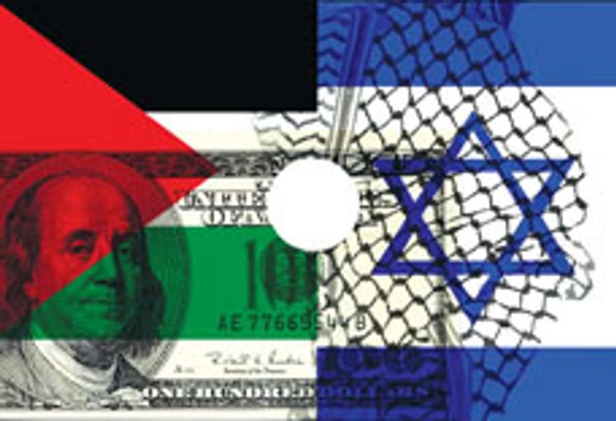Illustration: West Bank by Alexander Hunter for The Washington Times