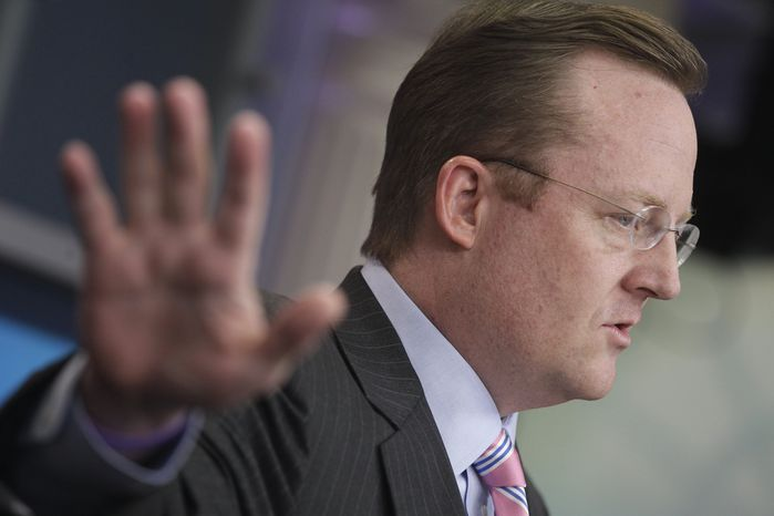 White House press secretary Robert Gibbs briefs reporters Wednesday at the White House on the situation in Egypt. (Associated Press)