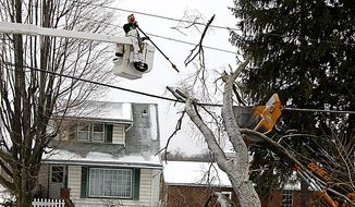 An American Electric Power worker clears a tree from a power line Wednesday, Feb. 2, 2011, in Canton, Ohio. An ice storm left hundreds of thousands in the dark across Ohio on Wednesday and gave way to melting slush before plunging temperatures and high winds threatened to bring new outages and a repeat of treacherous, icy conditions. (AP Photo/Tony Dejak)