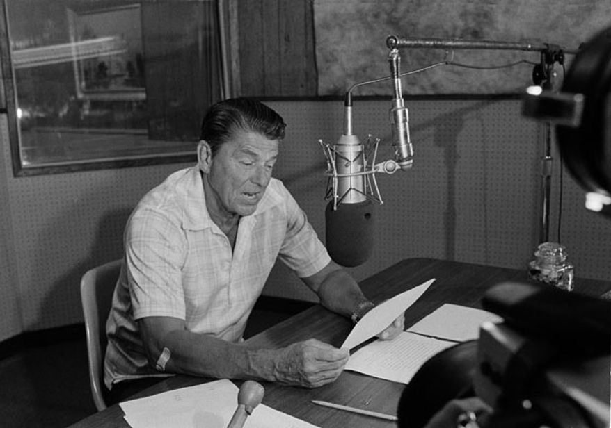 Ronald Reagan taping a commentary program for radio in 1976. AP