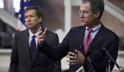 Ohio Department of Development Director Mark Kvamme speaks during a news conference to kick off JobsOhio legislative process with Ohio Gov. John Kasich, left, at the Tarrier Steel Co. in Columbus, Ohio, on Thursday, Jan. 20, 2011. (AP photo/Columbus Dispatch, Kyle Robertson)