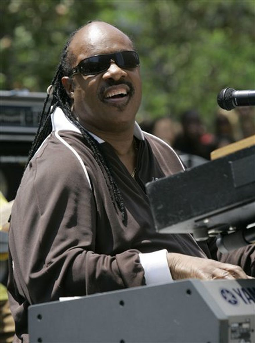 """FILE- In this 1970 file photo, Stevie Wonder plays piano on the stage of the Apollo Theater in New York. The Apollo Theater has announced that it will induct Wonder into its """"Apollo Legends Hall of Fame"""" at its annual Spring Gala on Monday, June 13, 2011. (AP Photo/Jim Wells, File)"""