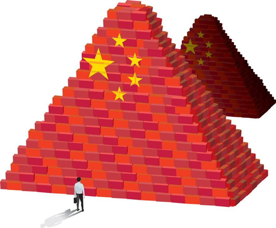 Illustration: China and Egypt by Linas Garsys for The Washington Times