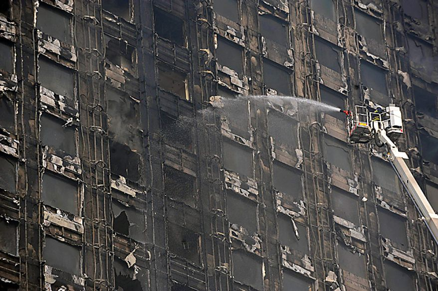 A fireman puts out the last flames of a fire that devoured an entire block of the Dynasty Wanxin Hotel in Shenyang in northeast China's Liaoning province Thursday, Feb. 3, 2011. State media reports say the fire was set off by fireworks to celebrate the Chinese new year and firefighters had trouble dealing with the fire because their fire engines shot water up only 165 feet, while the building was 720 feet tall. (AP Photo)