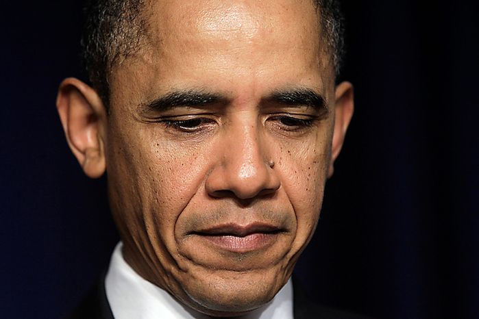 President Obama is pictured before speaking at the National Prayer Breakfast in Washington on Thursday, Feb. 3, 2011. (AP Photo/Charles Dharapak)