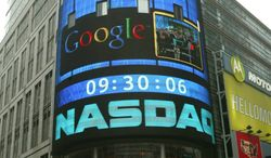 ** FILE ** The sign outside the NASDAQ Market site is seen in this Aug. 19, 2004, file photo taken in New York. (AP Photo/Kathy Willens, File)