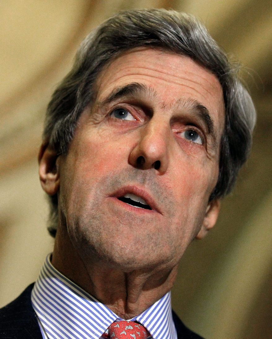 ASSOCIATED PRESS Sen. John Kerry Sunday disavowed a diplomat's apparent support for Egyptian President Hosni Mubarak's continued rule.