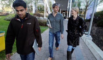 ASSOCIATED PRESS PHOTOGRAPHS Ujjwal Singh, here with fellow Google employee Steve Crossan and Twitter Vice President Katie Stanton, devised a way of letting fans share voice messages with celebrities; it has been repurposed to help Egyptian protesters.