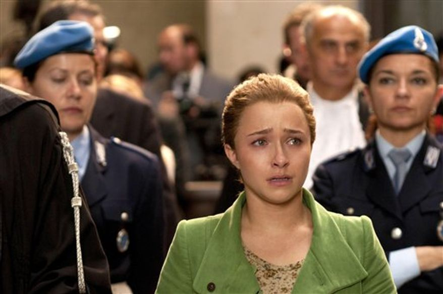 In this unndated handout photo provided by US channel Lifetime Entertainment Services on Friday, Dec. 4, 2009, actress Hayden Panettiere portrays US student Amanda Knox in the made for TV film about the murder of British student, Meredith Kercher. A trailer for the film will air on US channel Lifetime on Feb, 21. 2011. The father of slain British student Meredith Kercher is criticizing a U.S. television re-enactment for depicting alleged scenes of his daughter's murder in the Italian city of Perugia.The Lifetime movie is based on the trial that followed Meredith Kercher's stabbing death on Nov. 1, 2007  a killing for which Kercher's roommate, University of Washington student Amanda Knox, was found guilty, along with two men. They have all proclaimed their innocence. (AP Photo/Lifetime Entertainment Services. PA)  UNITED KINGDOM OUT NO SALES NO ARCHIVE EDITORIAL USE ONLY  - PHOTOGRAPH CAN NOT BE STORED OR USED FOR MORE THAN 14 DAYS AFTER THE DAY OF TRANSMISSION