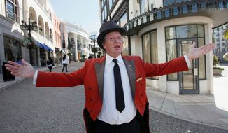 "Gregg Donovan has spent much of the past dozen years in top hat and tails giving directions, posing for photos, promoting local businesses and shouting to tourists in dozens of languages, ""Welcome to Beverly Hills. You have arrived."" (Associated Press)"