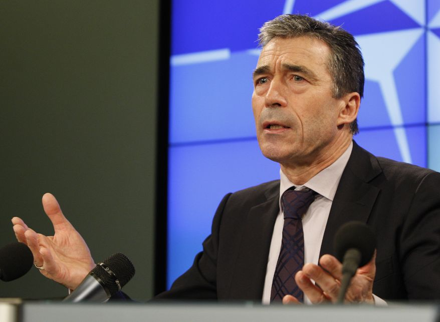 NATO Secretary-General Anders Fogh Rasmussen speaks during a media conference in Brussels on Monday, Feb. 7, 2011. Mr. Fogh Rasmussen warned that continuing unrest in the Middle East could cause economic hardships and increased illegal immigration to Europe. (AP Photo/Elisa Day)