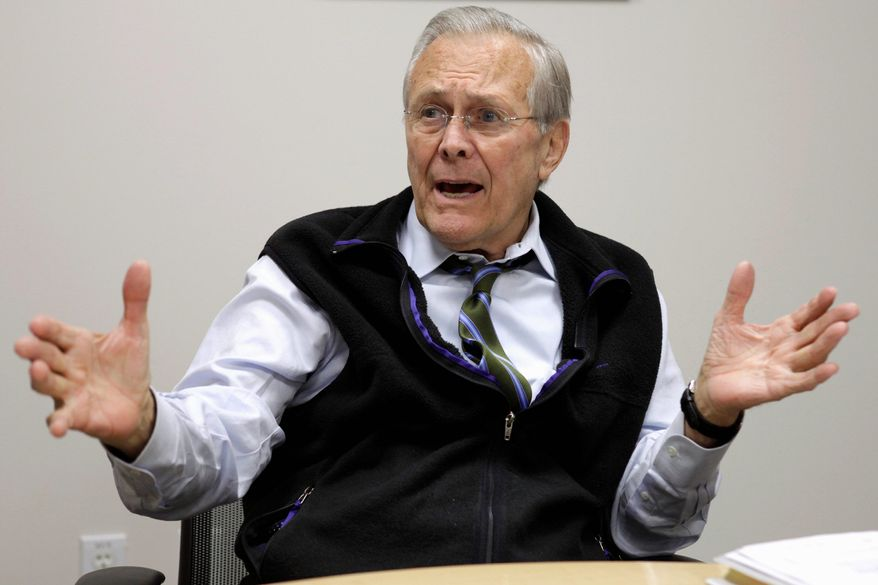 "Former Defense Secretary Donald H. Rumsfeld, along with a team of six aides, worked four years on his memoirs, ""Known and Unknown,"" a 700-page narrative with an additional 100-plus pages of end notes. (Associated Press)"