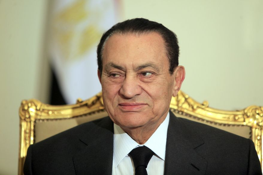 Egyptian President Hosni Mubarak meets with the Emirates foreign minister (not pictured) at the presidential palace in Cairo on Tuesday, Feb. 8, 2011. The meeting is the first appearance for Mr. Mubarak in front of international media following the country's Jan. 28 protests. (AP Photo/Amr Nabil)