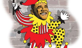 Illustration: Obama business card by Greg Groesch for The Washington Times