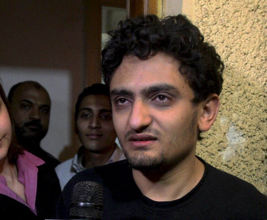 Wael Ghonim, a Google Inc. marketing manager, talks at his home in Cairo on Monday, Feb. 7, 2011. Mr. Ghonim, who was held by Egyptian authorities for about 10 days over anti-government protests, was freed on Monday. (AP Photo/Ahmed Ali)