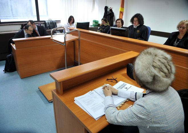 The court sits in a lawsuit filed by Khaled el-Masri against Macedonia, in Macedonia's capital Skopje on Friday, Feb. 4, 2011. El-Masri, a German man who says he was snatched by the CIA in Macedonia and tortured at a secret prison in Afghanistan after being mistaken for a terrorism suspect, begun a legal battle against Macedonia Friday to demand official recognition of his ordeal. El-Masri was not present at the court. (AP Photo/Boris Grdanoski)