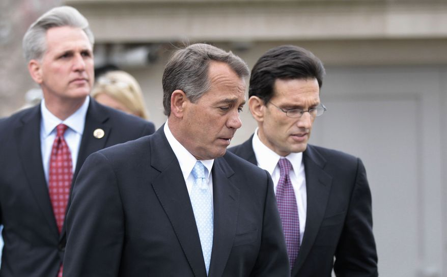 House Speaker John A. Boehner (center), accompanied by House Majority Leader Eric Cantor (right) and House Majority Whip Kevin McCarthy, leave the White House in Washington on Wednesday, Feb. 9, 2011, following a luncheon with President Obama. (AP Photo/Pablo Martinez Monsivais)
