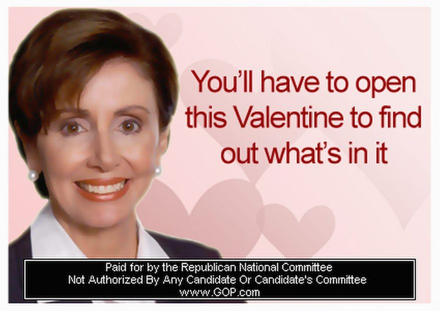 Valentine's Day cards from the Republican National Committee feature Democratic luminaries, such as former House Speaker Nancy Pelosi, and piquant greetings for the politically inclined. (Republican National Committee)