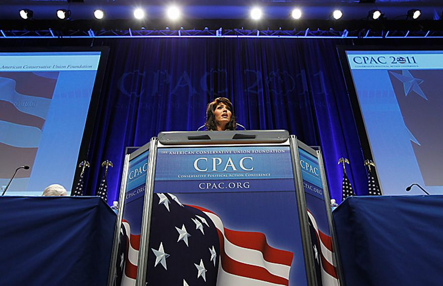 Rep. Kristi Noem, South Dakota Republican, addresses the Conservative Political Action Conference (CPAC) in Washington on Thursday, Feb. 10, 2011. (AP Photo/Alex Brandon)