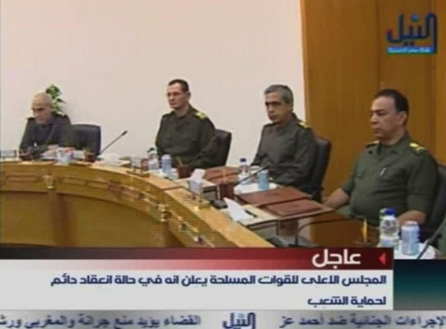 Members of Egypt's military supreme council attend a meeting in this image taken from TV Thursday, Feb. 10, 2011. President Hosni Mubarak will meet the demands of protesters, military and ruling party officials said Thursday in the strongest indication yet that Egypt's longtime president may be about to give up power and that the armed forces were seizing control. (AP Photo/Nile TV via APTN)
